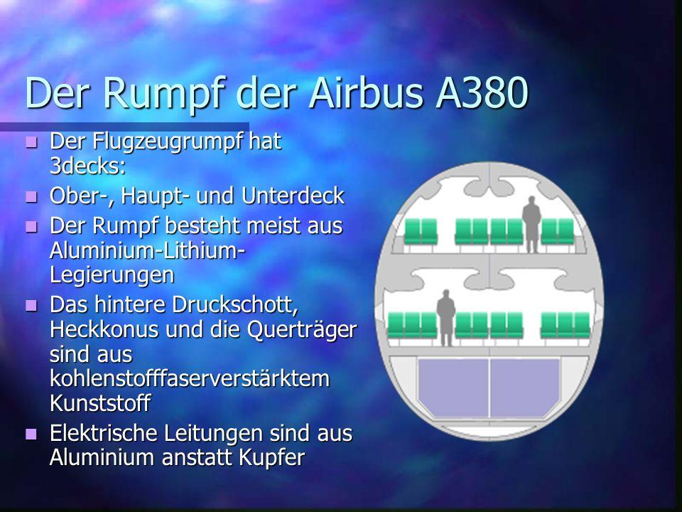 Der Rumpf der Airbus A380 Der Flugzeugrumpf hat 3decks: