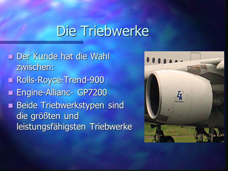 Die Triebwerke Der Kunde hat die Wahl zwischen: Rolls-Royce-Trend-900