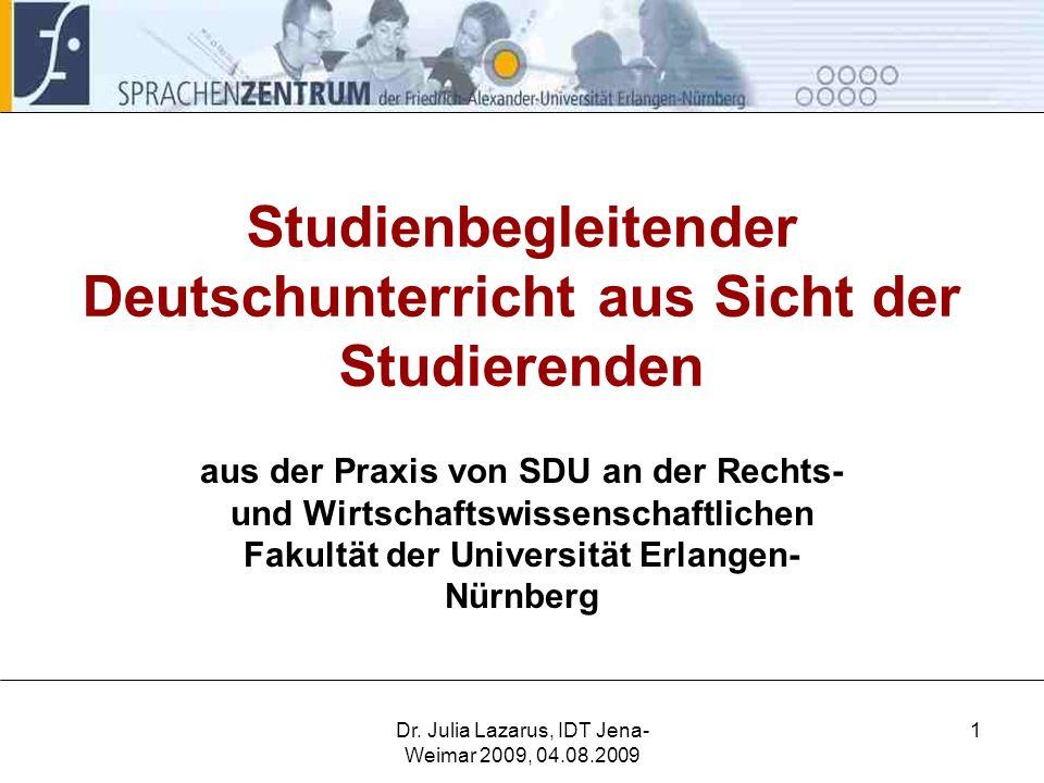 Studienbegleitender Deutschunterricht aus Sicht der Studierenden