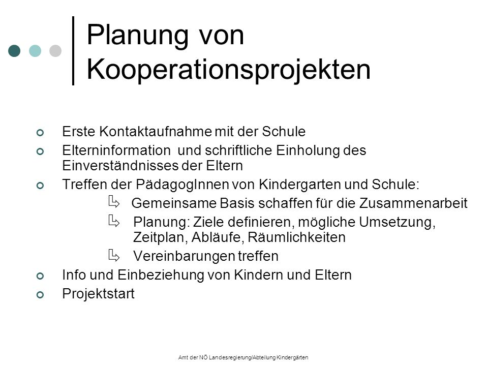 Planung von Kooperationsprojekten