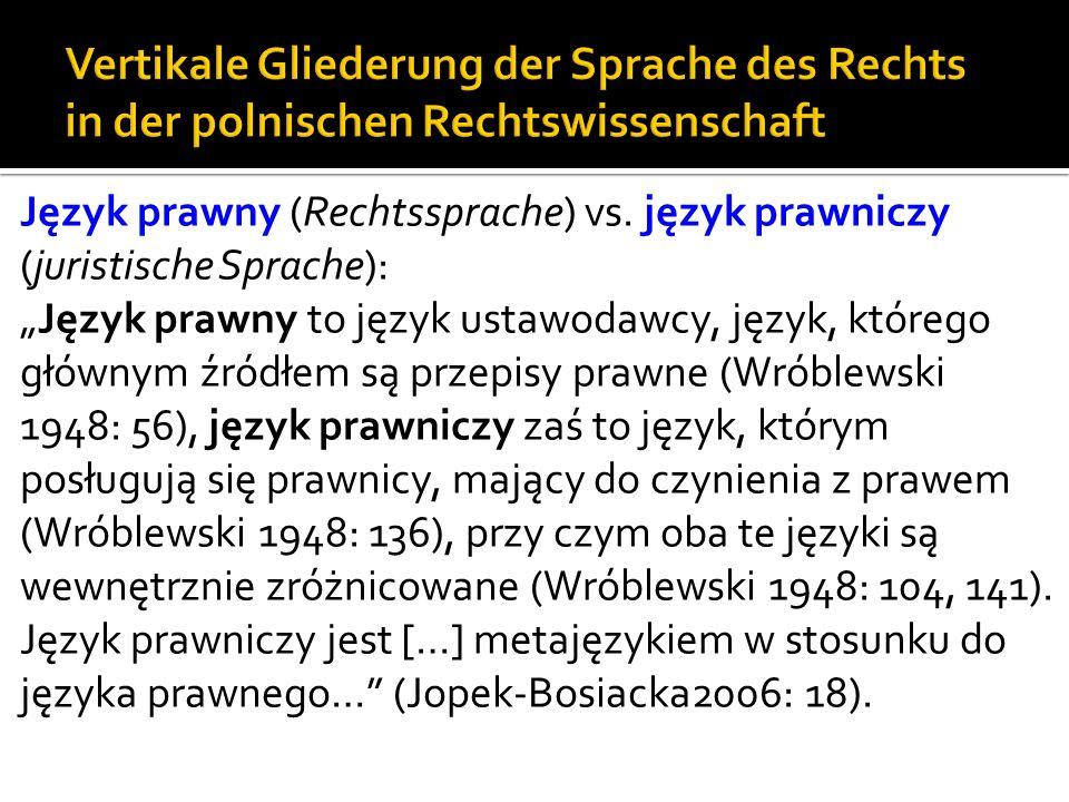 Vertikale Gliederung der Sprache des Rechts in der polnischen Rechtswissenschaft