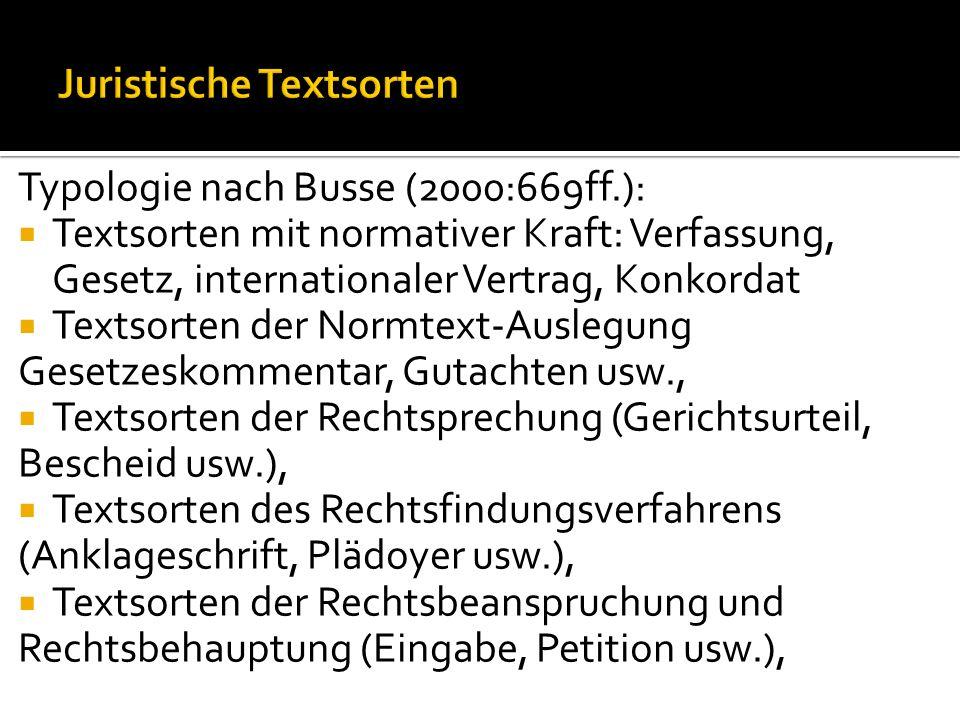 Juristische Textsorten