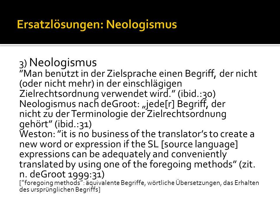 Ersatzlösungen: Neologismus