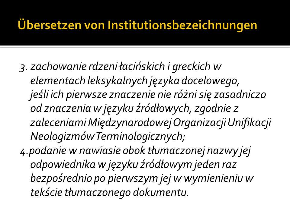 Übersetzen von Institutionsbezeichnungen