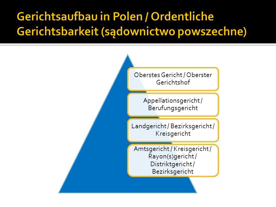 Gerichtsaufbau in Polen / Ordentliche Gerichtsbarkeit (sądownictwo powszechne)