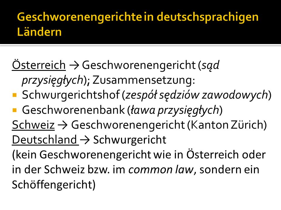 Geschworenengerichte in deutschsprachigen Ländern