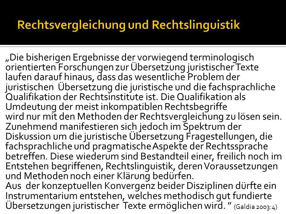 Rechtsvergleichung und Rechtslinguistik