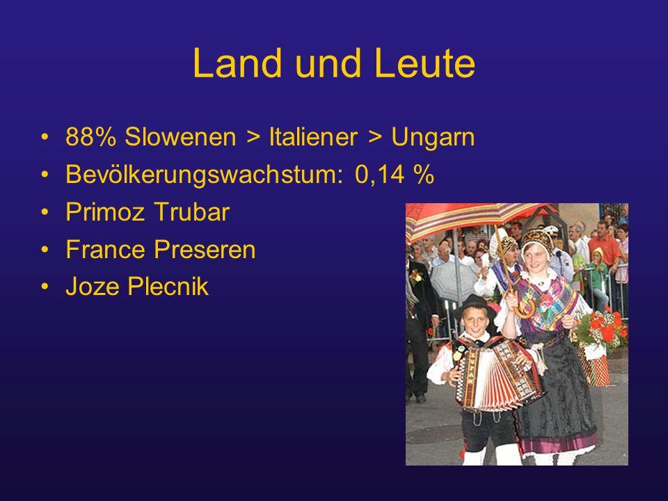 Land und Leute 88% Slowenen > Italiener > Ungarn