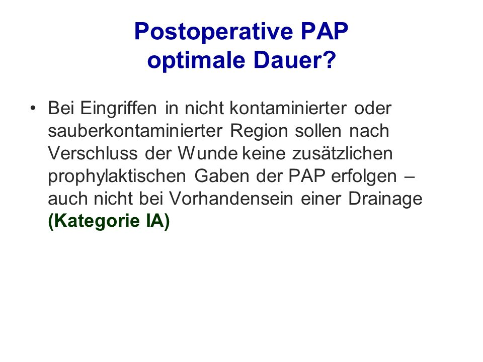 Postoperative PAP optimale Dauer