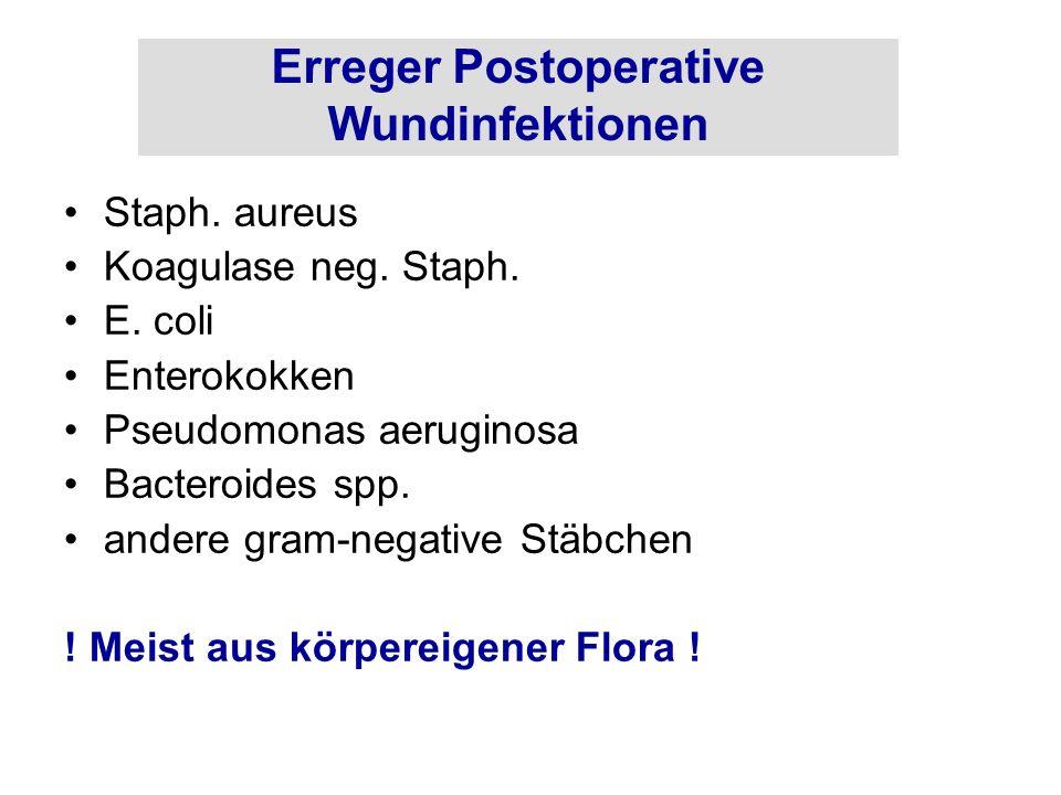 Erreger Postoperative Wundinfektionen