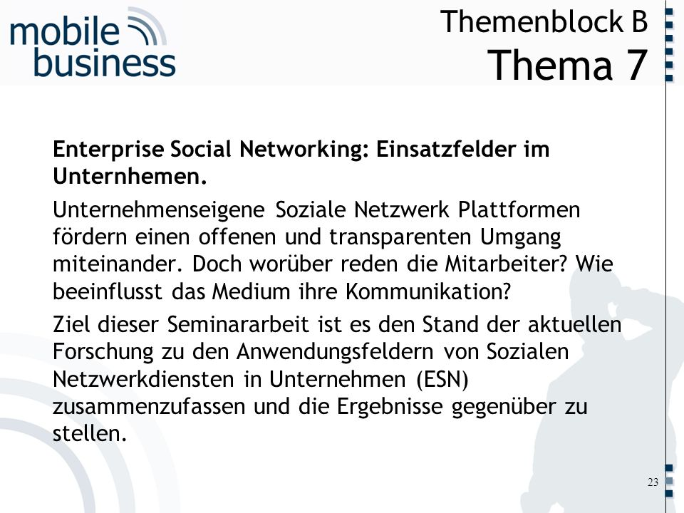 Themenblock B Thema 7 Enterprise Social Networking: Einsatzfelder im Unternhemen.