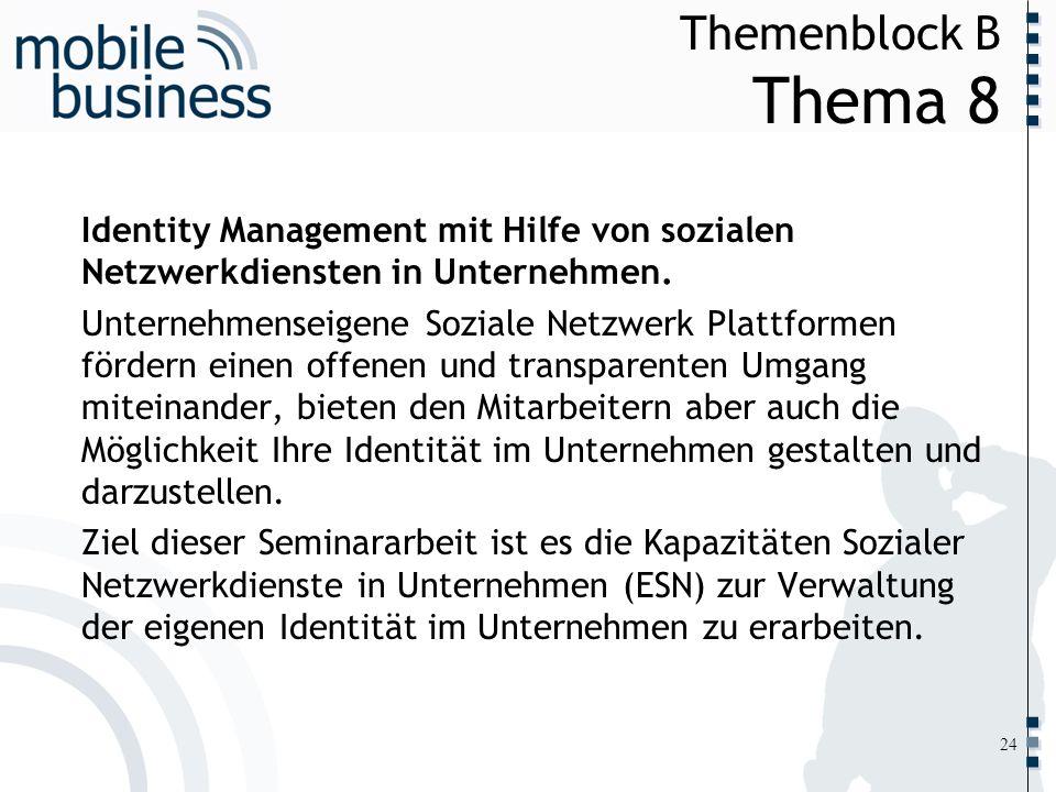 Themenblock B Thema 8Identity Management mit Hilfe von sozialen Netzwerkdiensten in Unternehmen.