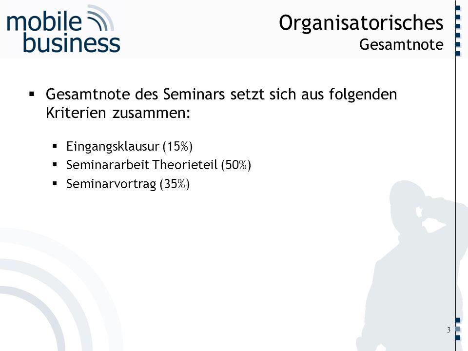 Organisatorisches Gesamtnote
