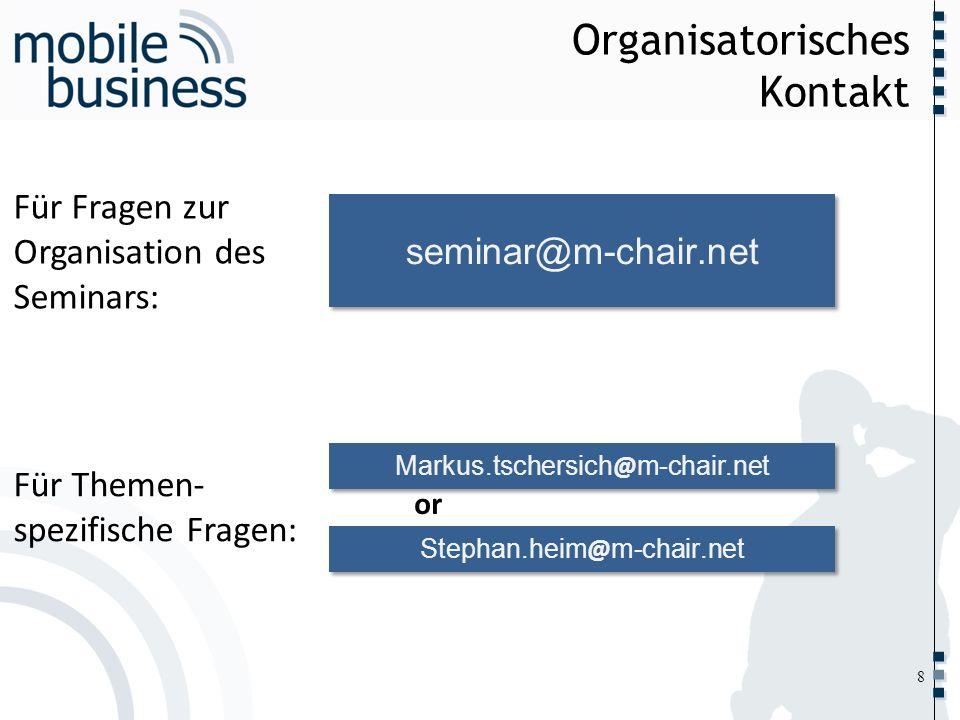 Organisatorisches Kontakt