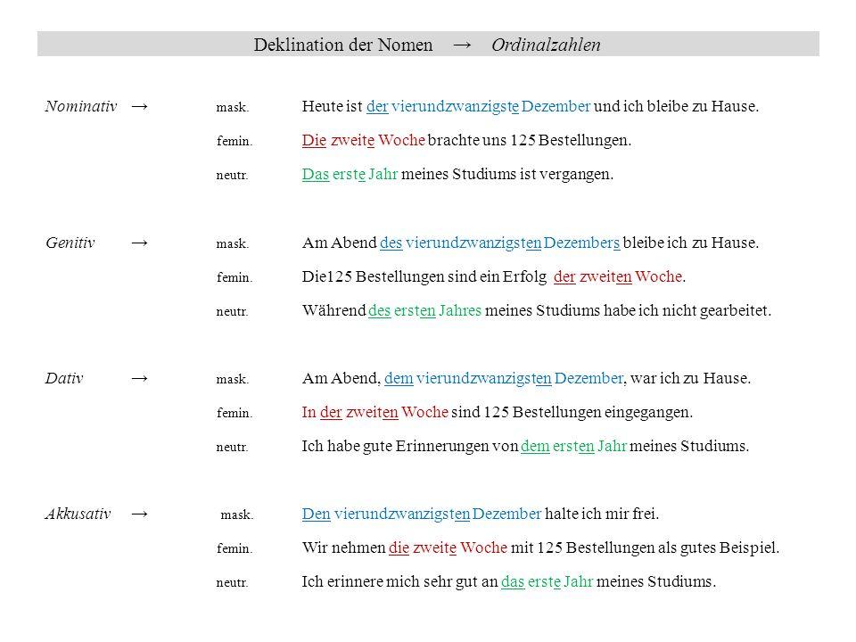Deklination der Nomen → Ordinalzahlen