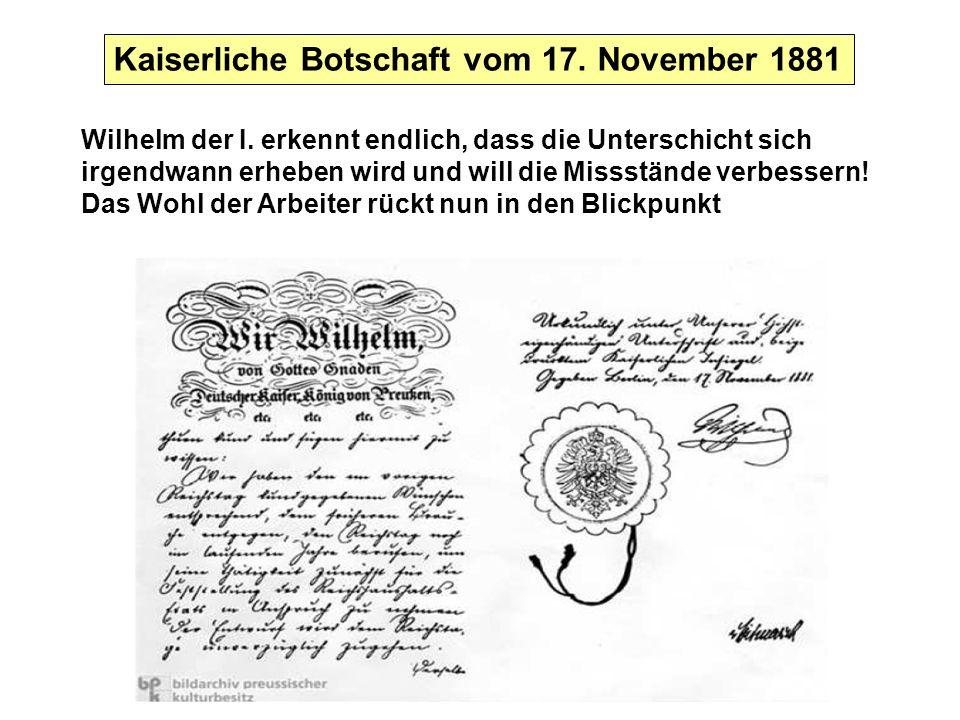 Kaiserliche Botschaft vom 17. November 1881