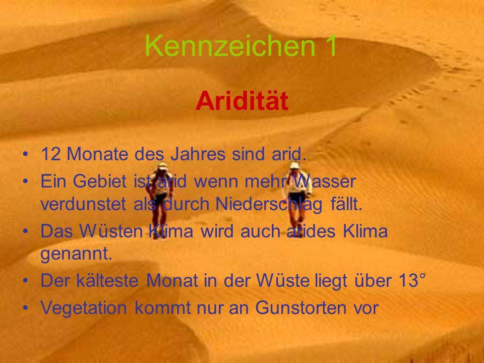 Kennzeichen 1 Aridität 12 Monate des Jahres sind arid.