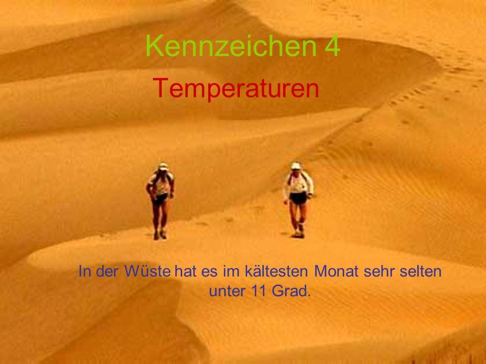 In der Wüste hat es im kältesten Monat sehr selten unter 11 Grad.