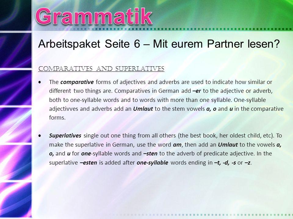 Grammatik Arbeitspaket Seite 6 – Mit eurem Partner lesen
