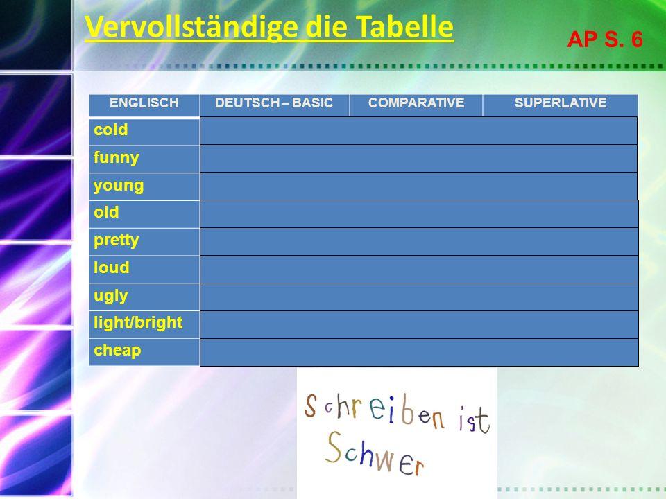 Vervollständige die Tabelle