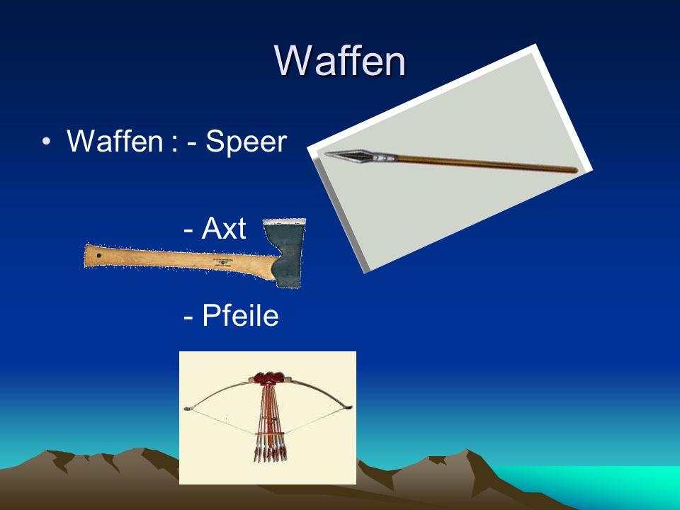 Waffen Waffen : - Speer - Axt - Pfeile
