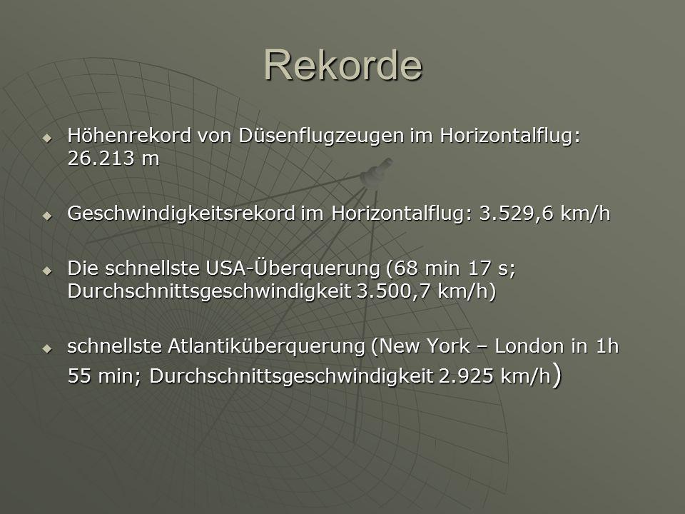 Rekorde Höhenrekord von Düsenflugzeugen im Horizontalflug: 26.213 m