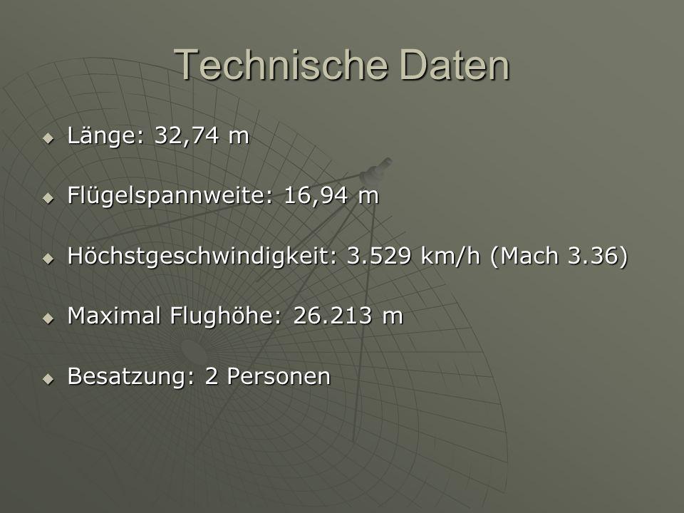 Technische Daten Länge: 32,74 m Flügelspannweite: 16,94 m