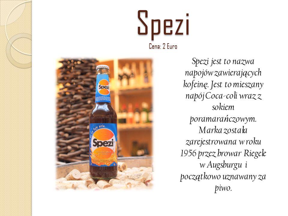 Spezi Cena: 2 Euro Spezi jest to nazwa napojów zawierających kofeinę. Jest to mieszany napój Coca-coli wraz z.