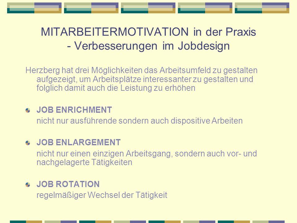 MITARBEITERMOTIVATION in der Praxis - Verbesserungen im Jobdesign