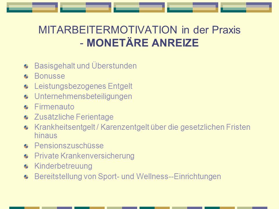 MITARBEITERMOTIVATION in der Praxis - MONETÄRE ANREIZE