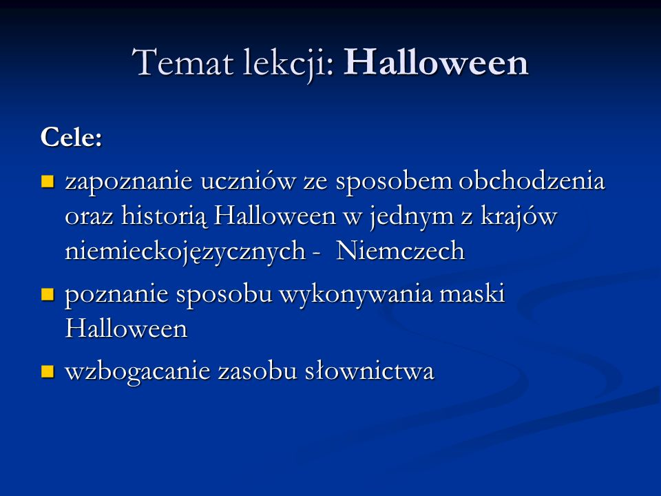 Temat lekcji: Halloween