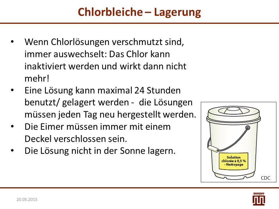 Chlorbleiche – Lagerung