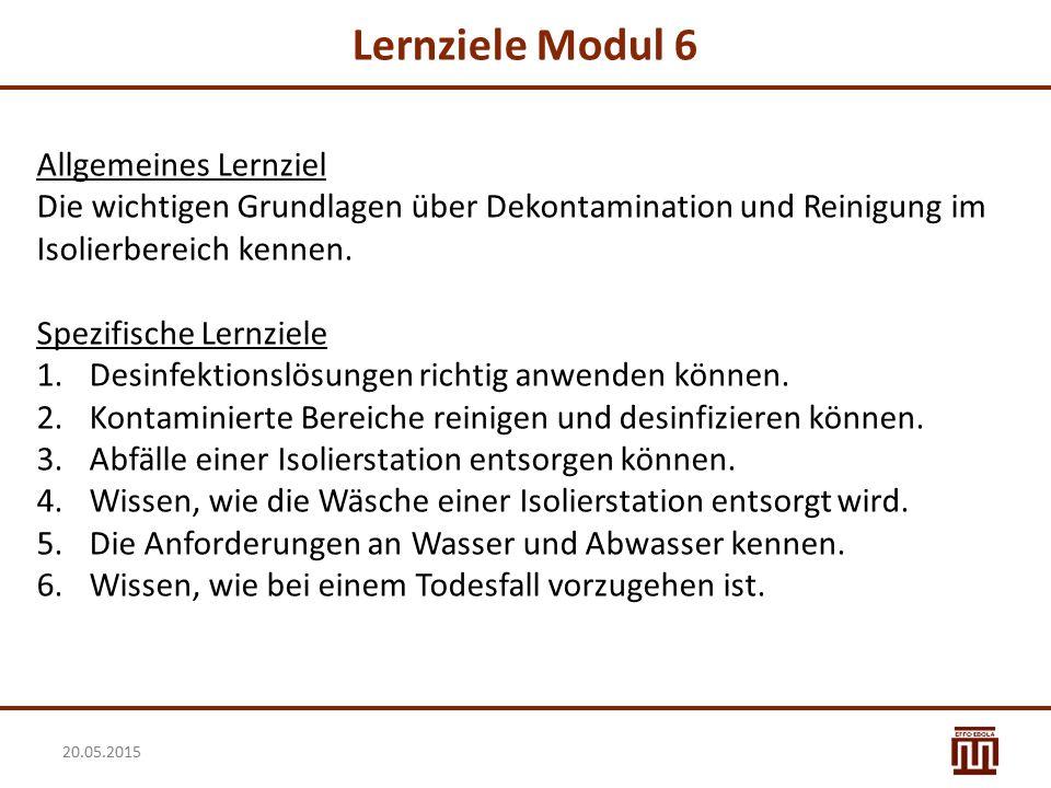 Lernziele Modul 6 Allgemeines Lernziel