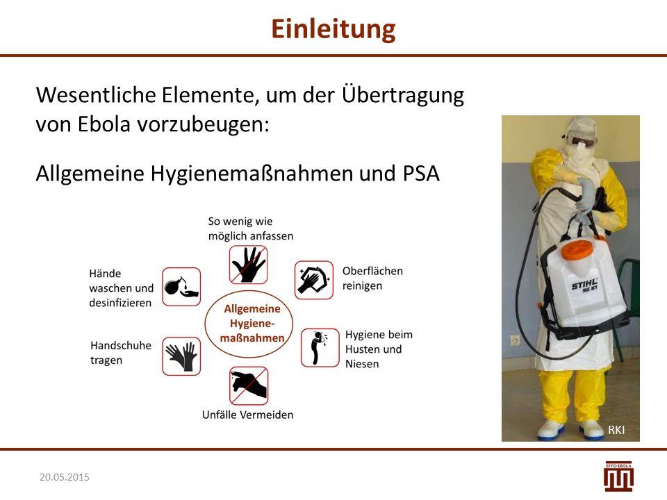 Einleitung Wesentliche Elemente, um der Übertragung von Ebola vorzubeugen: Allgemeine Hygienemaßnahmen und PSA.