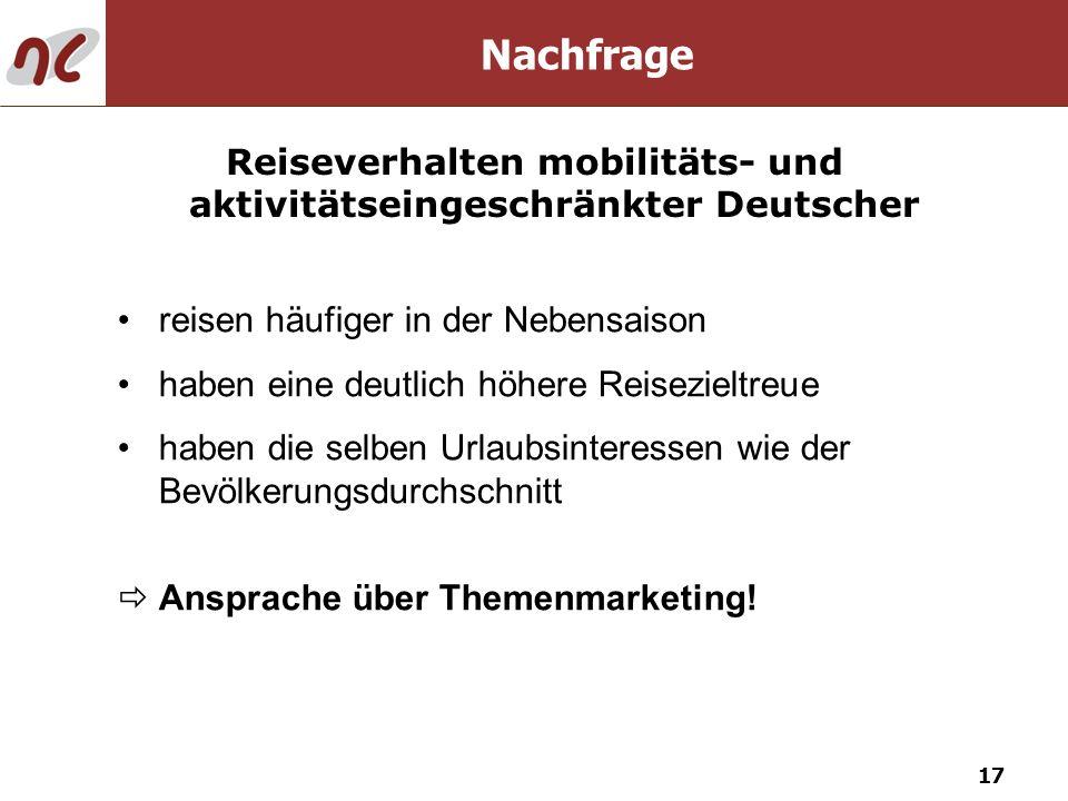 Reiseverhalten mobilitäts- und aktivitätseingeschränkter Deutscher