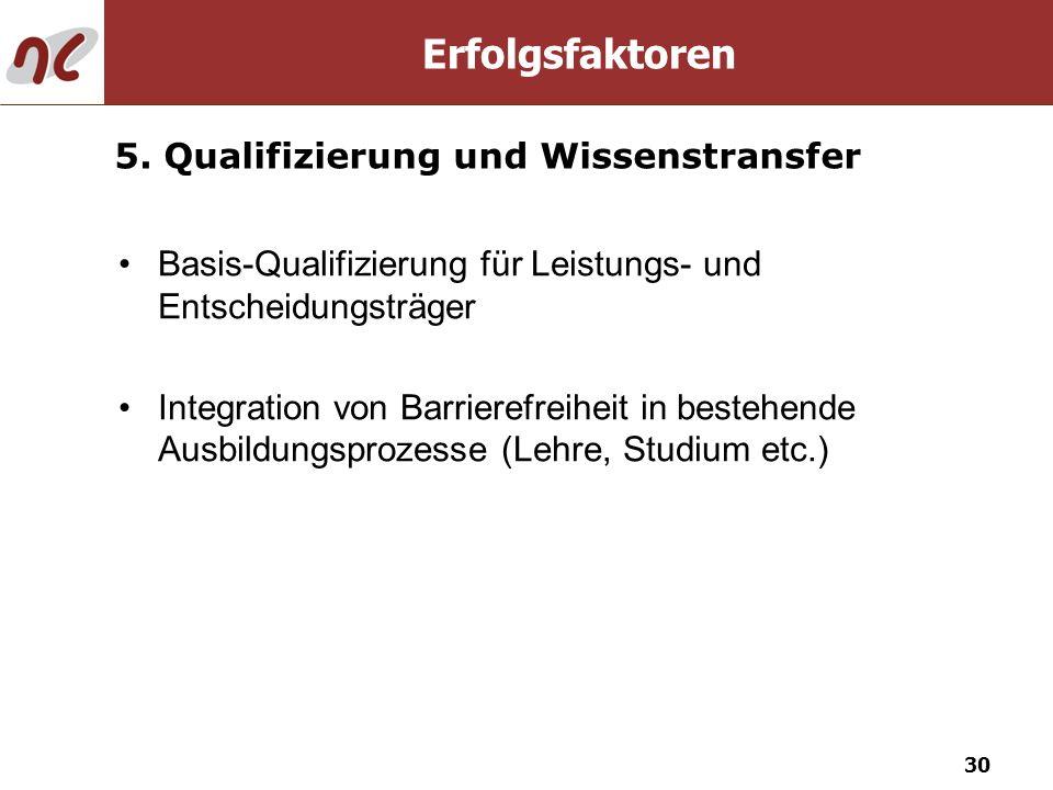 Erfolgsfaktoren 5. Qualifizierung und Wissenstransfer