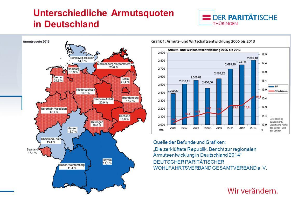 Unterschiedliche Armutsquoten in Deutschland