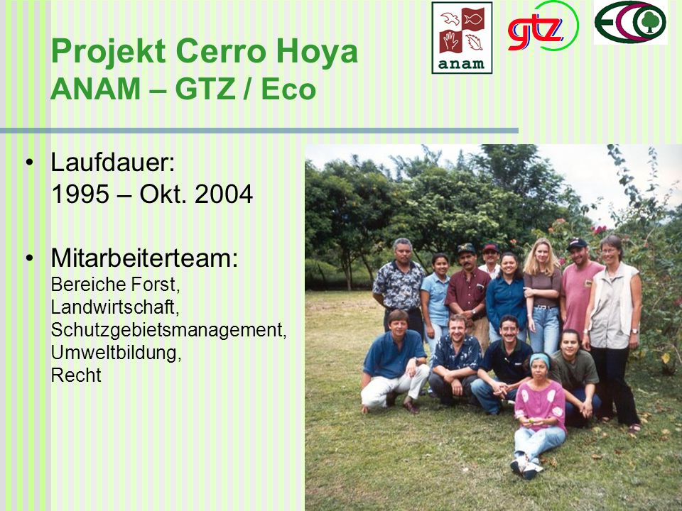 Projekt Cerro Hoya ANAM – GTZ / Eco