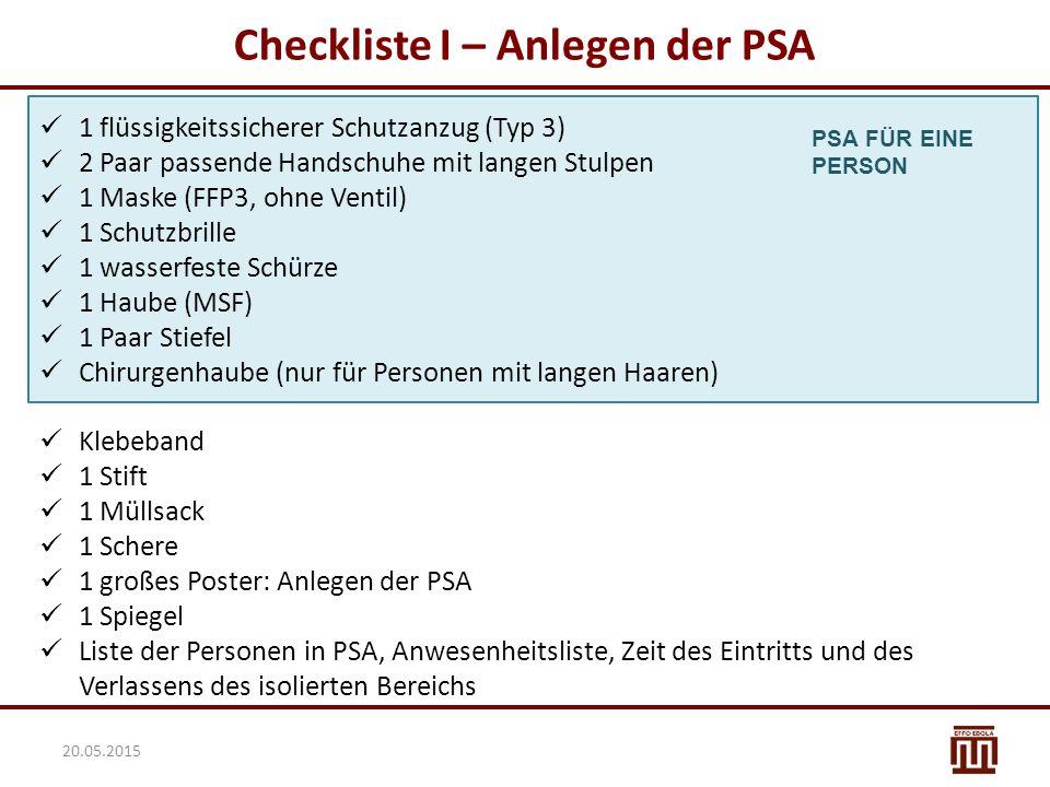 Checkliste I – Anlegen der PSA