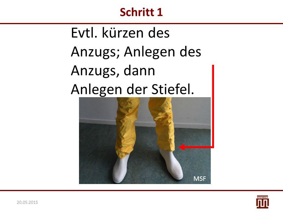 Evtl. kürzen des Anzugs; Anlegen des Anzugs, dann Anlegen der Stiefel.