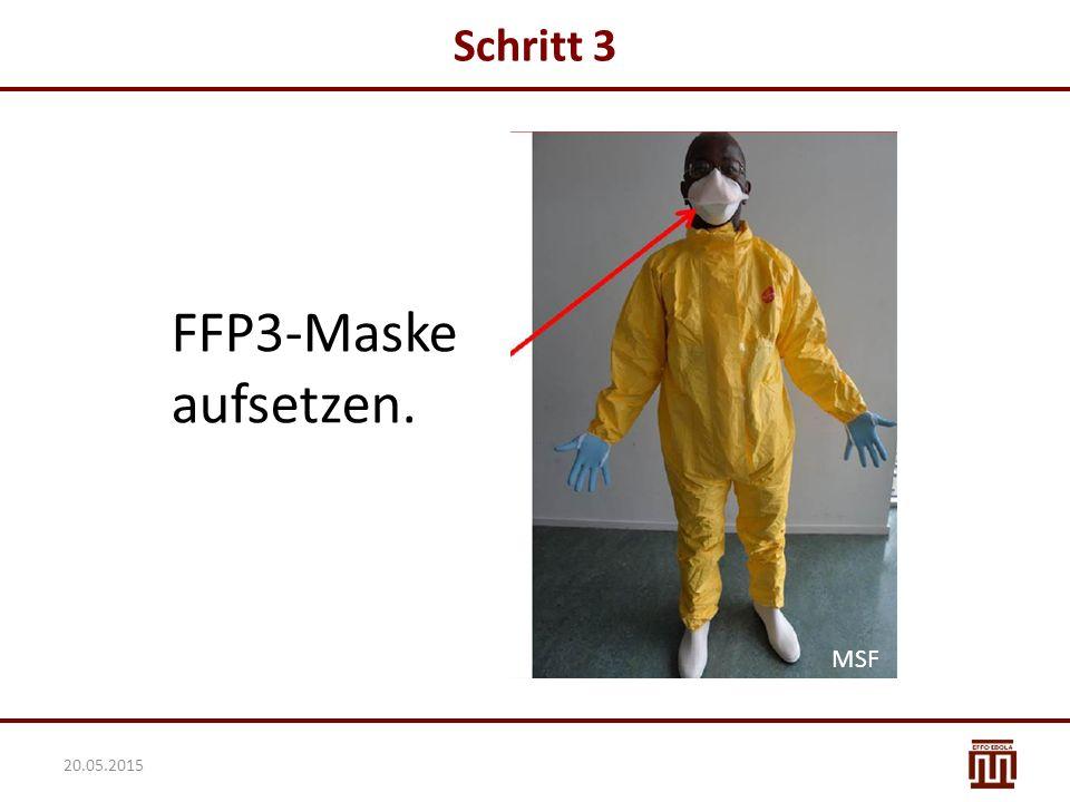 FFP3-Maske aufsetzen. Schritt 3