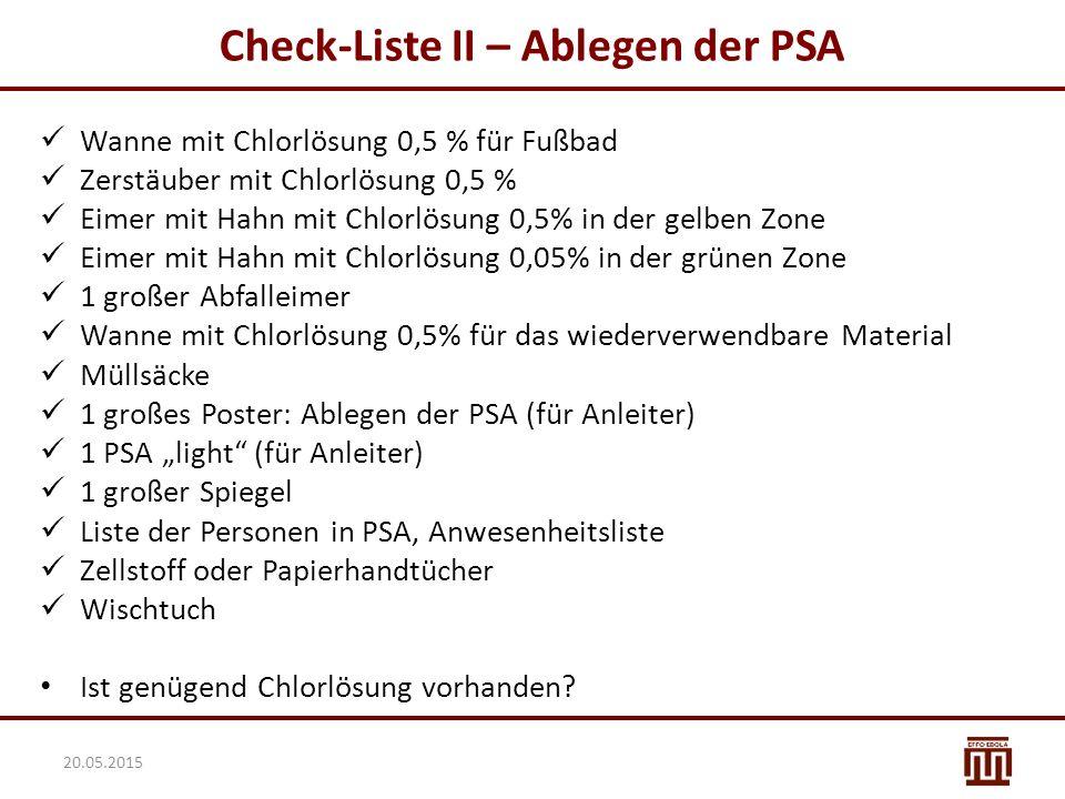Check-Liste II – Ablegen der PSA