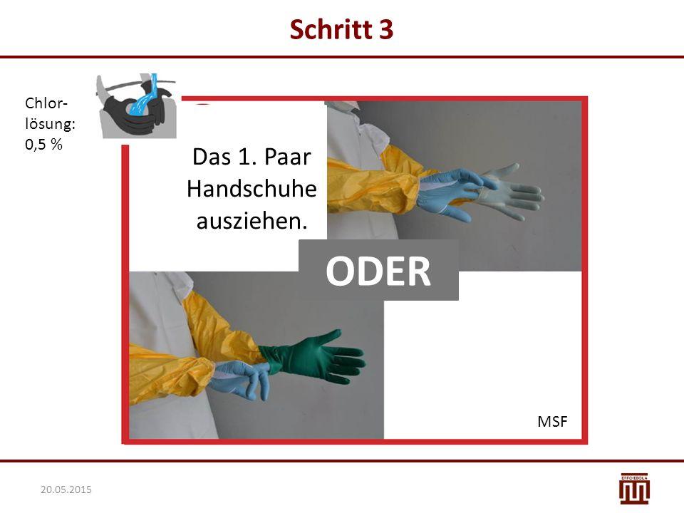 Das 1. Paar Handschuhe ausziehen.