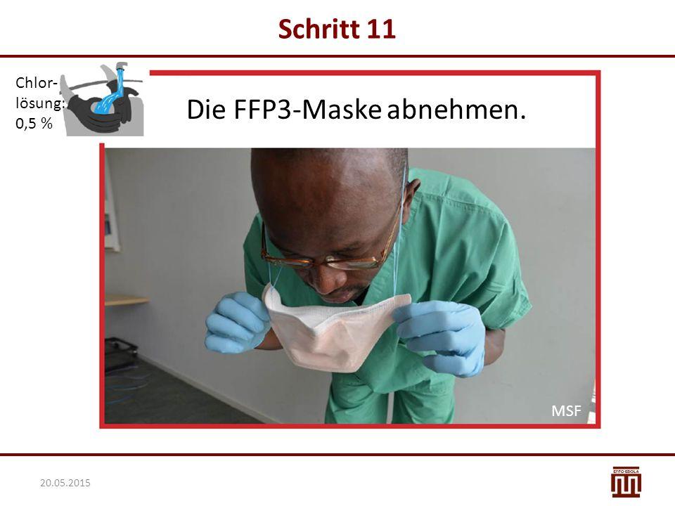 Die FFP3-Maske abnehmen.