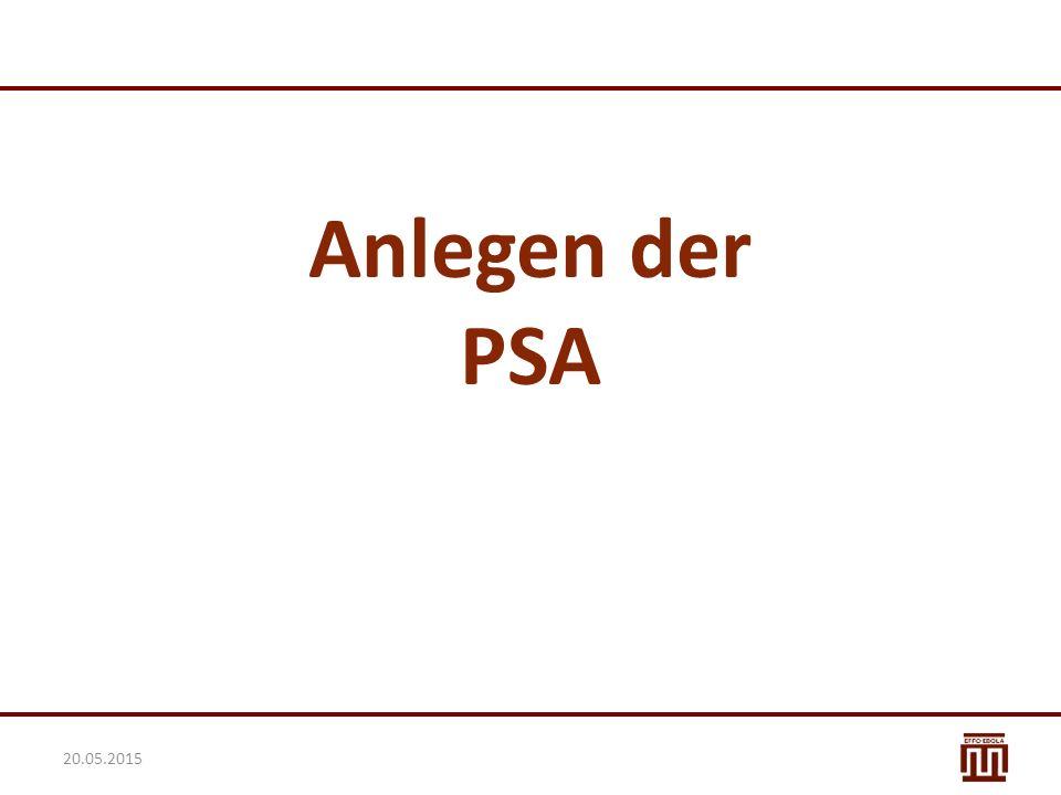 Anlegen der PSA 20.05.2015