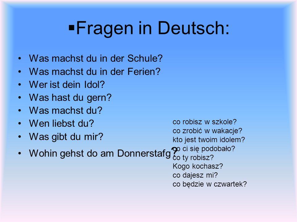 Fragen in Deutsch: Was machst du in der Schule