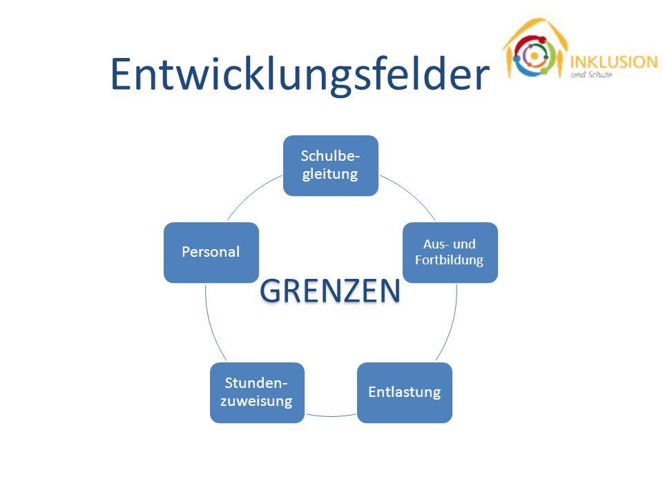 Entwicklungsfelder GRENZEN Schulbe-gleitung Personal Stunden-zuweisung