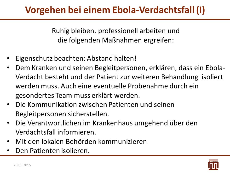 Vorgehen bei einem Ebola-Verdachtsfall (I)