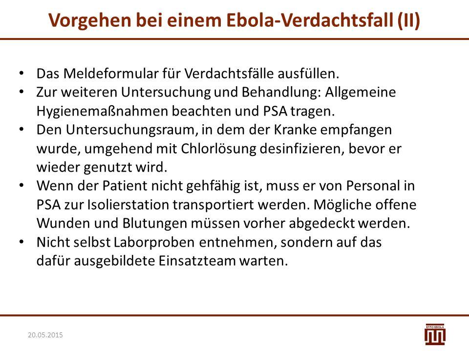 Vorgehen bei einem Ebola-Verdachtsfall (II)