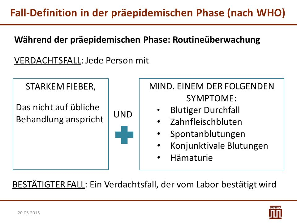 Fall-Definition in der präepidemischen Phase (nach WHO)